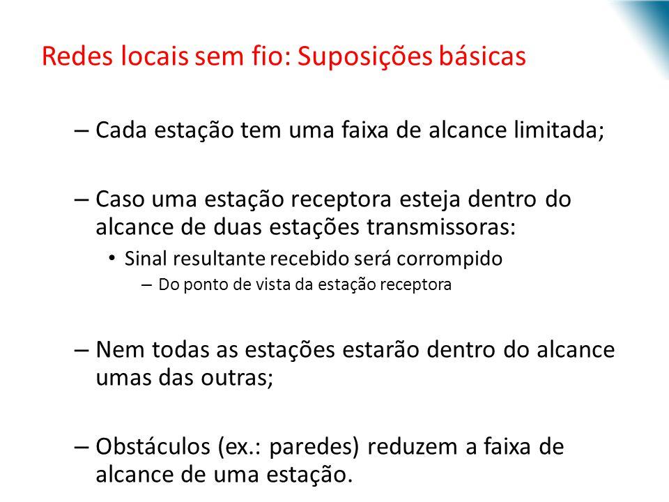 URI - DECC - Santo Ângelo Redes locais sem fio: Suposições básicas – Cada estação tem uma faixa de alcance limitada; – Caso uma estação receptora este