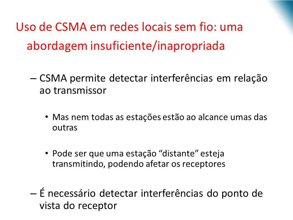 URI - DECC - Santo Ângelo Uso de CSMA em redes locais sem fio: uma abordagem insuficiente/inapropriada – CSMA permite detectar interferências em relaç