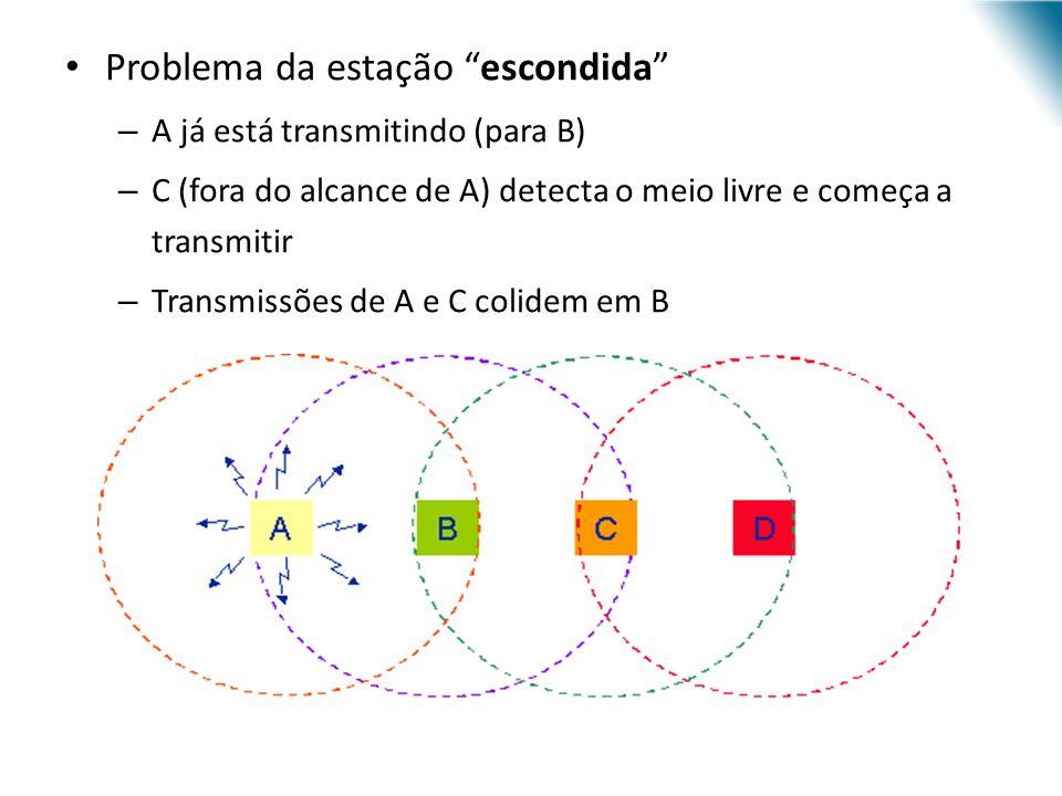 URI - DECC - Santo Ângelo Problema da estação escondida – A já está transmitindo (para B) – C (fora do alcance de A) detecta o meio livre e começa a t