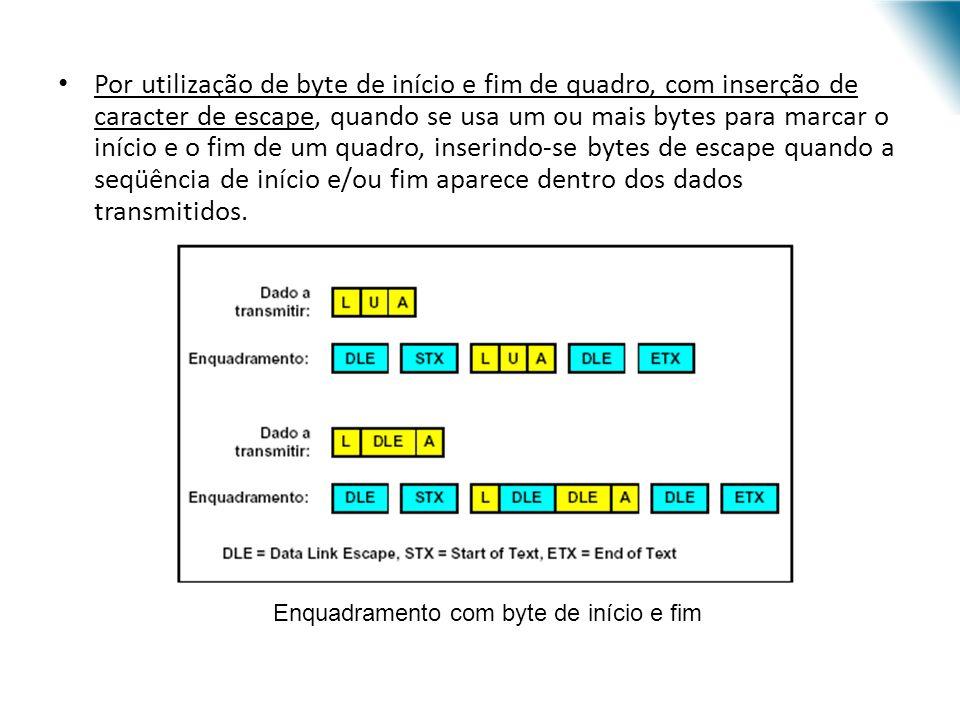 Por utilização de seqüência de início e fim de quadro, com inserção de bit de escape, quando se usa um padrão de bits para indicar o início e o fim de um quadro, inserindo-se bits de escape quando a seqüência de início e/ou fim aparece dentro dos dados transmitidos.