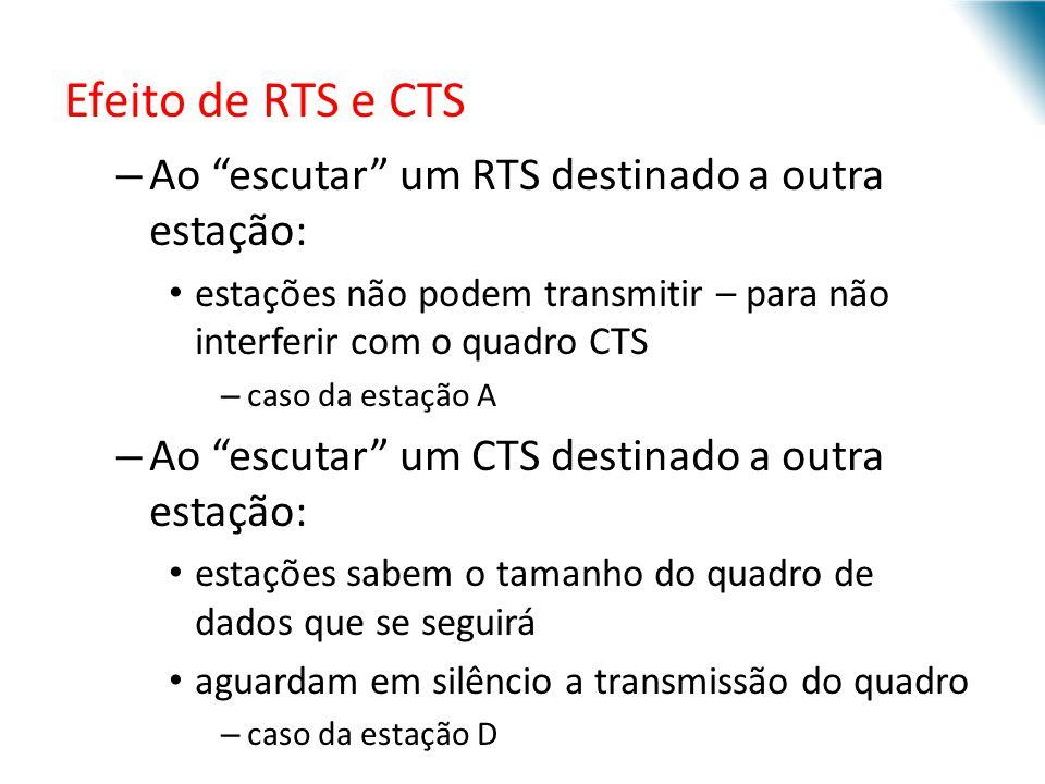 URI - DECC - Santo Ângelo Efeito de RTS e CTS – Ao escutar um RTS destinado a outra estação: estações não podem transmitir – para não interferir com o