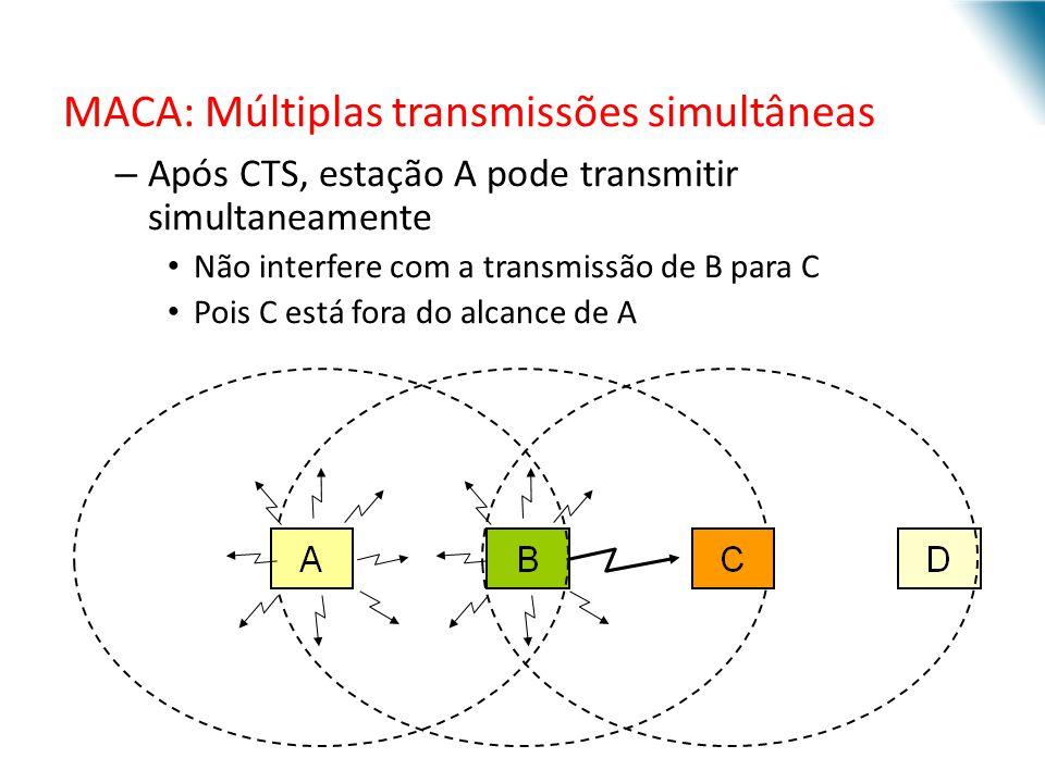 MACA: Múltiplas transmissões simultâneas – Após CTS, estação A pode transmitir simultaneamente Não interfere com a transmissão de B para C Pois C está