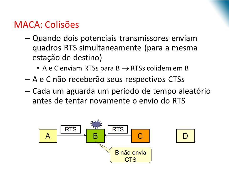 MACA: Colisões – Quando dois potenciais transmissores enviam quadros RTS simultaneamente (para a mesma estação de destino) A e C enviam RTSs para B RT