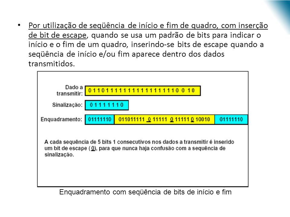 Exemplo: Dado a transmitir = 1 0 1 1 1 0 1 1 G(x) = x 3 + x 2 + x D(x) = 1x 7 + 0x 6 + 1x 5 + 1x 4 + 1x 3 + 0x 2 + 1x 1 + 1x 0 = x 7 + x 5 + x 4 + x 3 + x + 1 D(x) * termo de maior grau de G(x) = (x 7 + x 5 + x 4 + x 3 + x + 1) * x 3 = x 10 + x 8 + x 7 + x 6 + x 4 + x 3 = D (x) D (x) % G(x) = x 2 + x = 1 1 0 = R(x) = CRC Dado transmitido = 1 0 1 1 1 0 1 1 1 1 0 A aplicação de CRC é normalmente feita através de hardware.