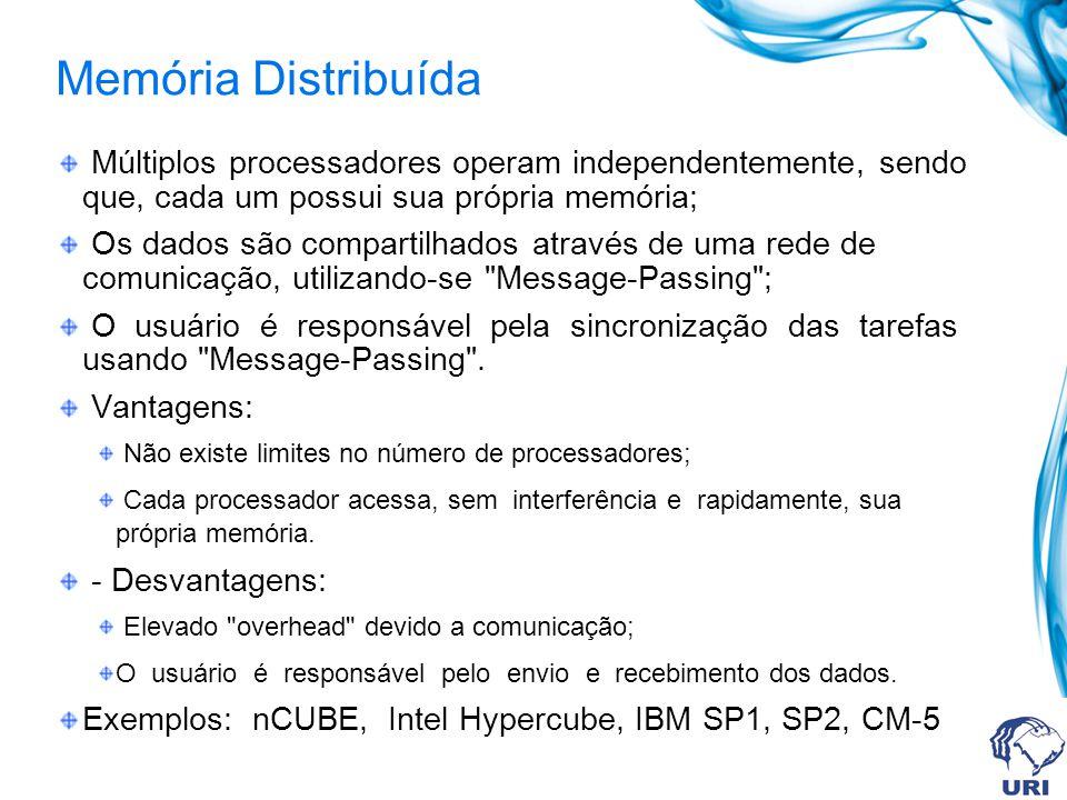 Memória Distribuída Múltiplos processadores operam independentemente, sendo que, cada um possui sua própria memória; Os dados são compartilhados através de uma rede de comunicação, utilizando-se Message-Passing ; O usuário é responsável pela sincronização das tarefas usando Message-Passing .