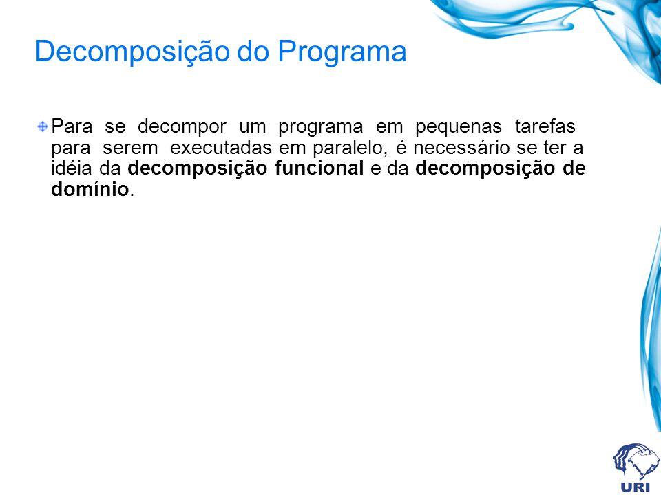 Decomposição do Programa Para se decompor um programa em pequenas tarefas para serem executadas em paralelo, é necessário se ter a idéia da decomposição funcional e da decomposição de domínio.