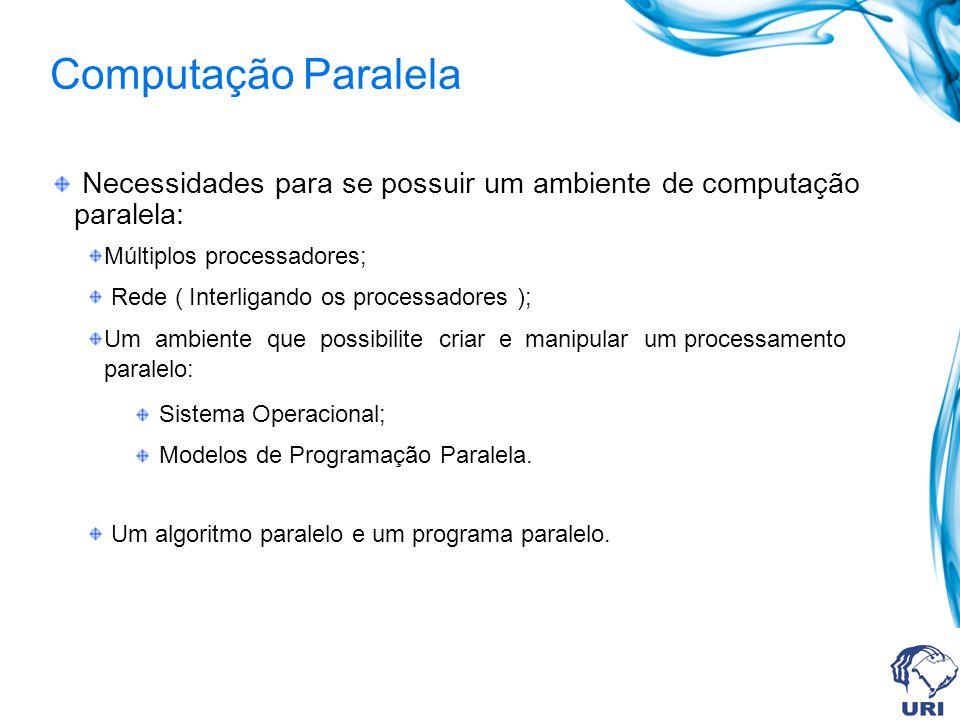 Computação Paralela Necessidades para se possuir um ambiente de computação paralela: Múltiplos processadores; Rede ( Interligando os processadores ); Um ambiente que possibilite criar e manipular um processamento paralelo: Sistema Operacional; Modelos de Programação Paralela.