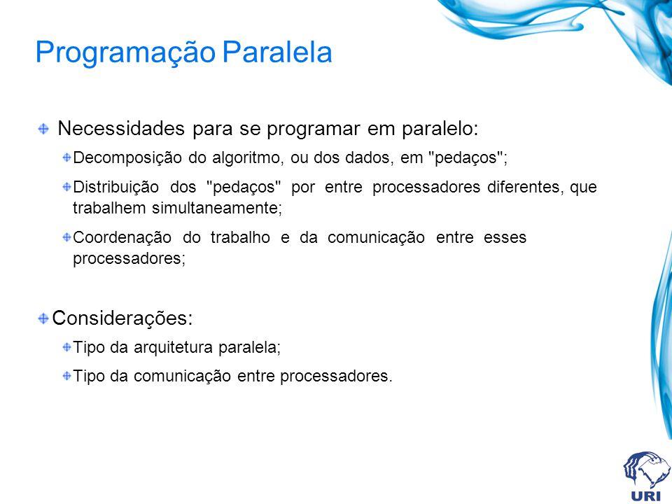 Programação Paralela Necessidades para se programar em paralelo: Decomposição do algoritmo, ou dos dados, em pedaços ; Distribuição dos pedaços por entre processadores diferentes, que trabalhem simultaneamente; Coordenação do trabalho e da comunicação entre esses processadores; Considerações: Tipo da arquitetura paralela; Tipo da comunicação entre processadores.