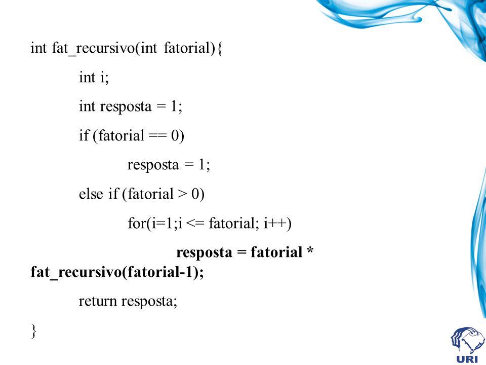 int fat_recursivo(int fatorial){ int i; int resposta = 1; if (fatorial == 0) resposta = 1; else if (fatorial > 0) for(i=1;i <= fatorial; i++) resposta