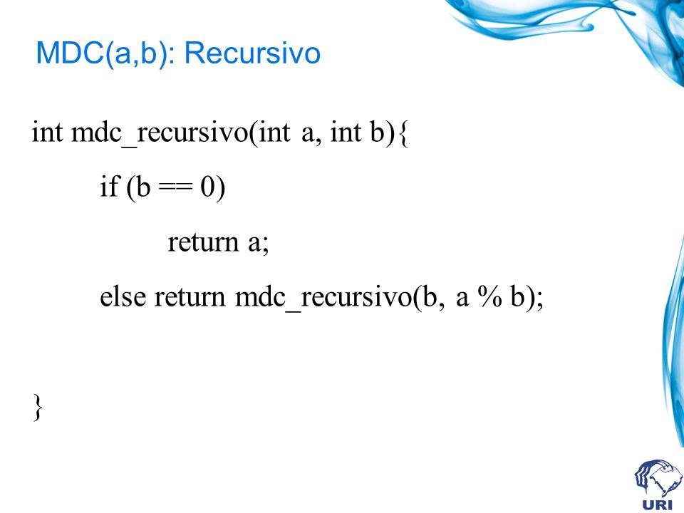 MDC(a,b): Recursivo int mdc_recursivo(int a, int b){ if (b == 0) return a; else return mdc_recursivo(b, a % b); }