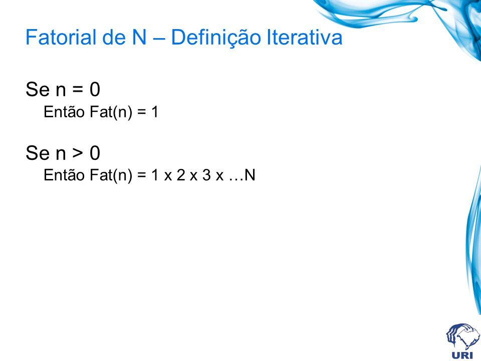 int fat(int fatorial){ int i; int resposta = 1; if (fatorial == 0) resposta = 1; else if (fatorial > 0) for(i=1;i <= fatorial; i++) resposta = resposta * i; return resposta; }