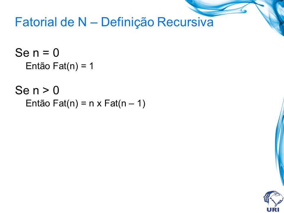 int pot_recursivo(int a, int b){ if (b == 0) return 1; else return (pot_recursivo(a, b-1) * a); } Potência: Definição Recursiva