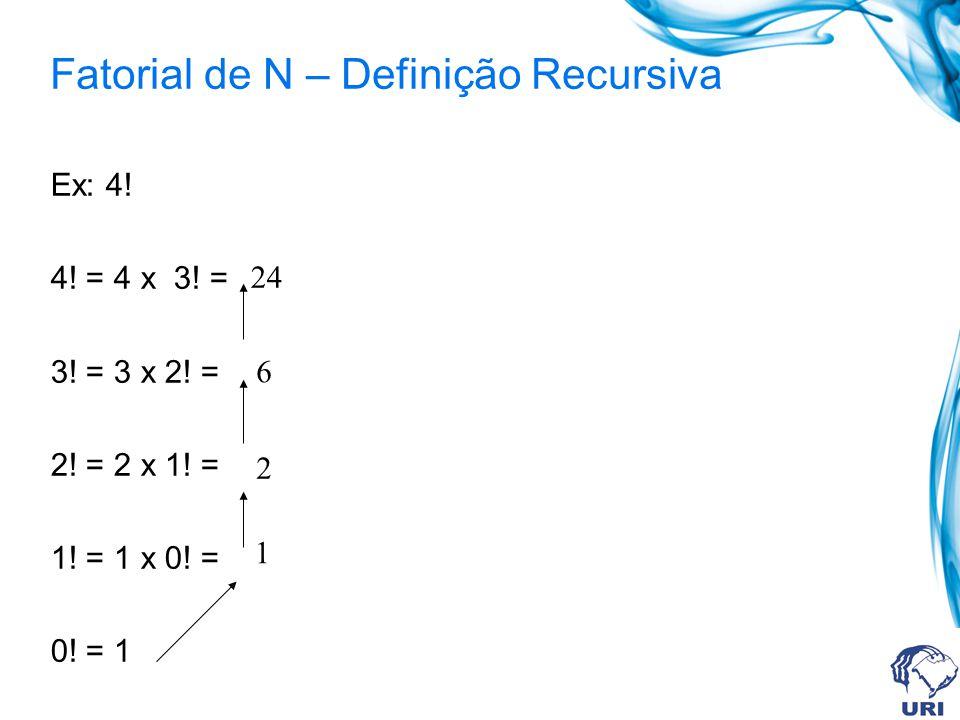 Fatorial de N – Definição Recursiva Ex: 4! 4! = 4 x 3! = 3! = 3 x 2! = 2! = 2 x 1! = 1! = 1 x 0! = 0! = 1 1 2 6 24