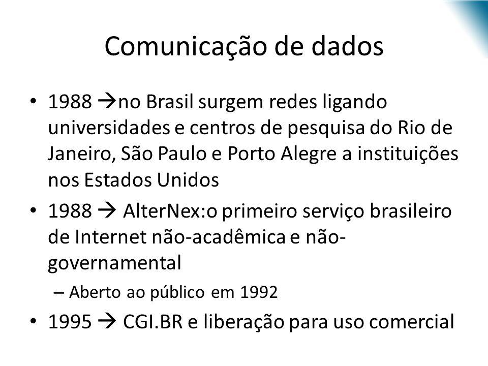 Comunicação de dados 1988 no Brasil surgem redes ligando universidades e centros de pesquisa do Rio de Janeiro, São Paulo e Porto Alegre a instituiçõe