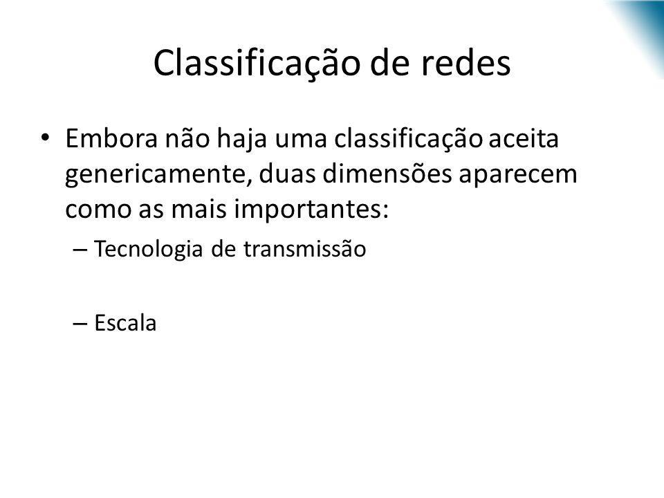 Classificação de redes Embora não haja uma classificação aceita genericamente, duas dimensões aparecem como as mais importantes: – Tecnologia de trans