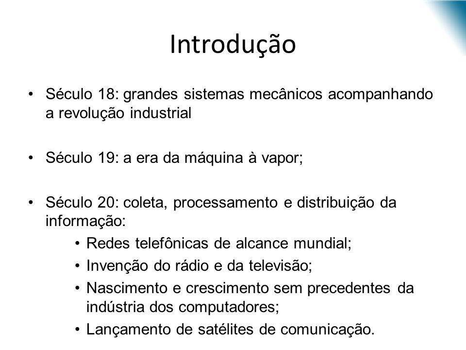 Introdução Século 18: grandes sistemas mecânicos acompanhando a revolução industrial Século 19: a era da máquina à vapor; Século 20: coleta, processam