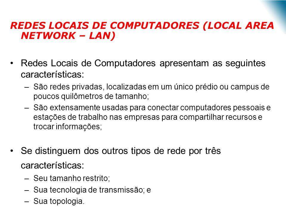 REDES LOCAIS DE COMPUTADORES (LOCAL AREA NETWORK – LAN) Redes Locais de Computadores apresentam as seguintes características: –São redes privadas, loc