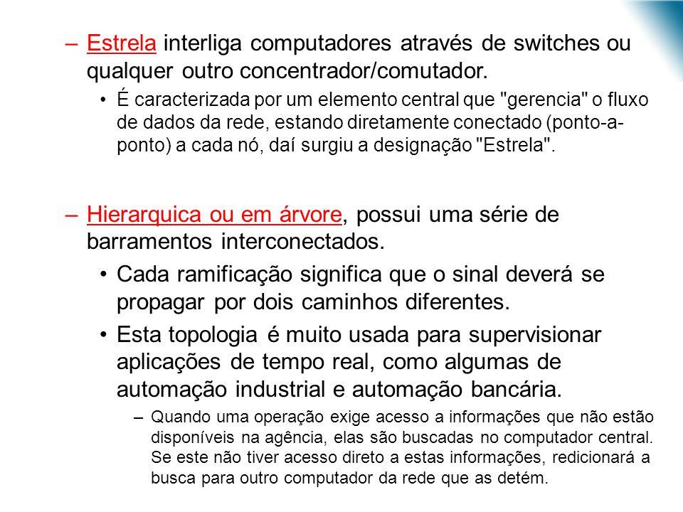 –Estrela interliga computadores através de switches ou qualquer outro concentrador/comutador. É caracterizada por um elemento central que
