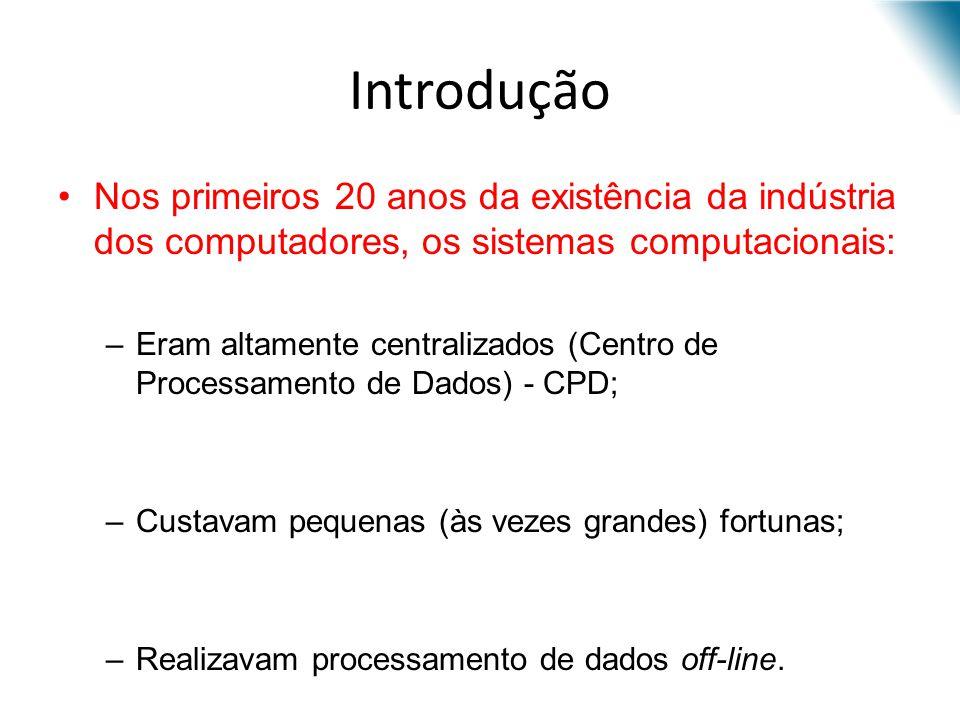 Introdução Nos primeiros 20 anos da existência da indústria dos computadores, os sistemas computacionais: –Eram altamente centralizados (Centro de Pro