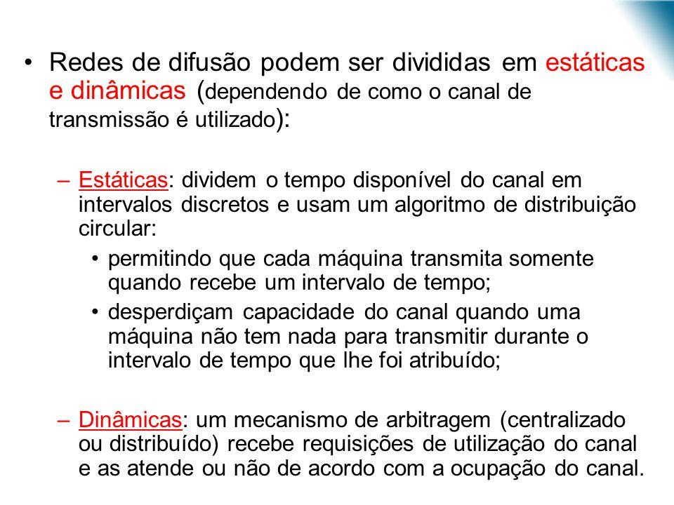 Redes de difusão podem ser divididas em estáticas e dinâmicas ( dependendo de como o canal de transmissão é utilizado ): –Estáticas: dividem o tempo d