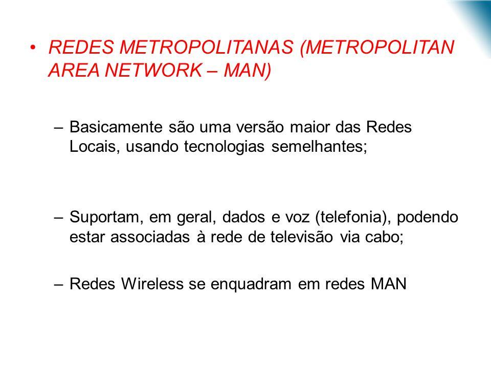 REDES METROPOLITANAS (METROPOLITAN AREA NETWORK – MAN) –Basicamente são uma versão maior das Redes Locais, usando tecnologias semelhantes; –Suportam,