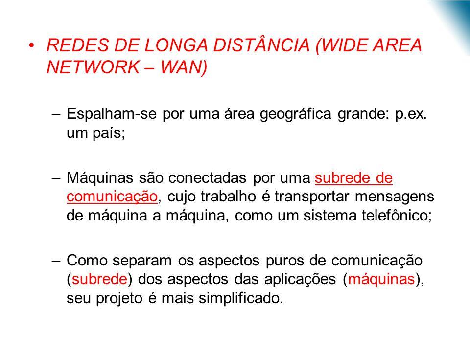 REDES DE LONGA DISTÂNCIA (WIDE AREA NETWORK – WAN) –Espalham-se por uma área geográfica grande: p.ex. um país; –Máquinas são conectadas por uma subred