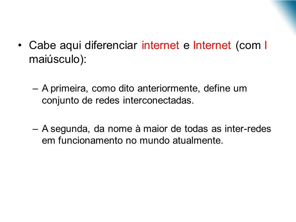 Cabe aqui diferenciar internet e Internet (com I maiúsculo): –A primeira, como dito anteriormente, define um conjunto de redes interconectadas. –A seg