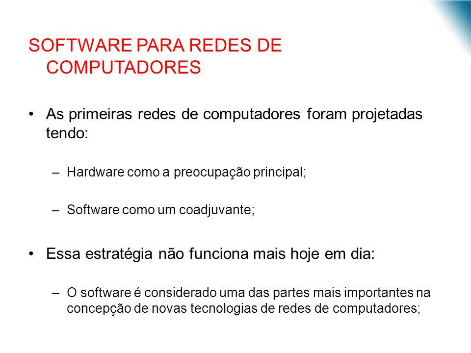 SOFTWARE PARA REDES DE COMPUTADORES As primeiras redes de computadores foram projetadas tendo: –Hardware como a preocupação principal; –Software como