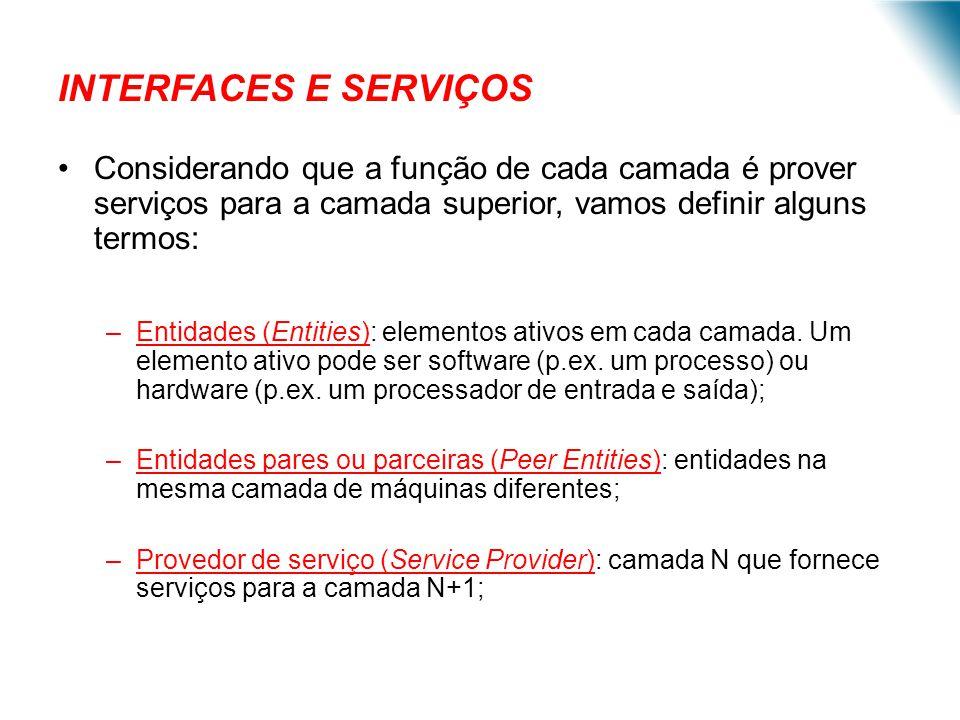 INTERFACES E SERVIÇOS Considerando que a função de cada camada é prover serviços para a camada superior, vamos definir alguns termos: –Entidades (Enti