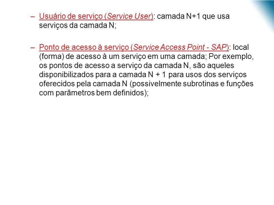–Usuário de serviço (Service User): camada N+1 que usa serviços da camada N; –Ponto de acesso à serviço (Service Access Point - SAP): local (forma) de