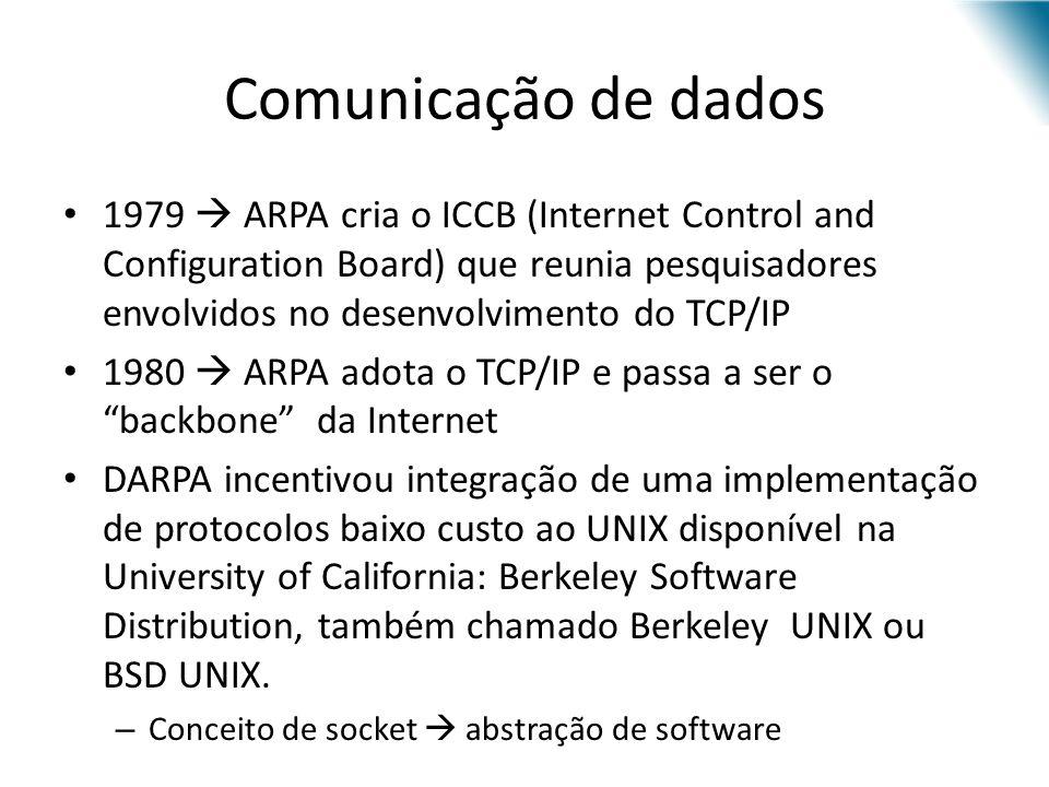 Comunicação de dados 1979 ARPA cria o ICCB (Internet Control and Configuration Board) que reunia pesquisadores envolvidos no desenvolvimento do TCP/IP