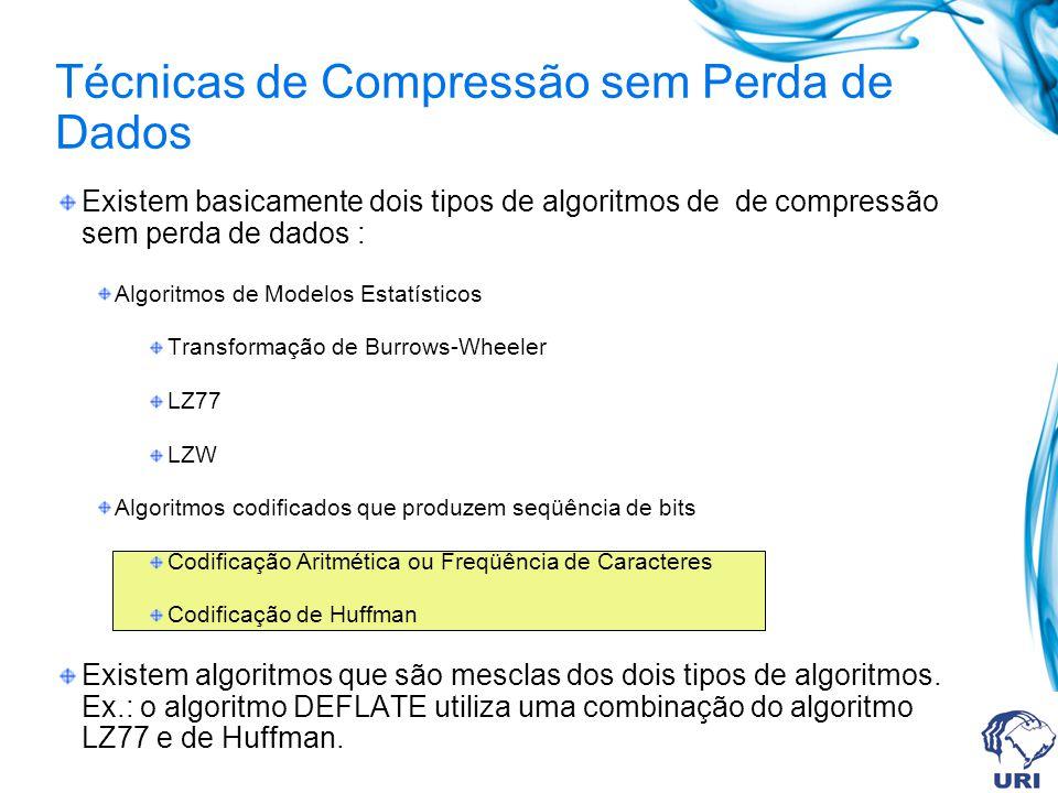 Existem basicamente dois tipos de algoritmos de de compressão sem perda de dados : Algoritmos de Modelos Estatísticos Transformação de Burrows-Wheeler