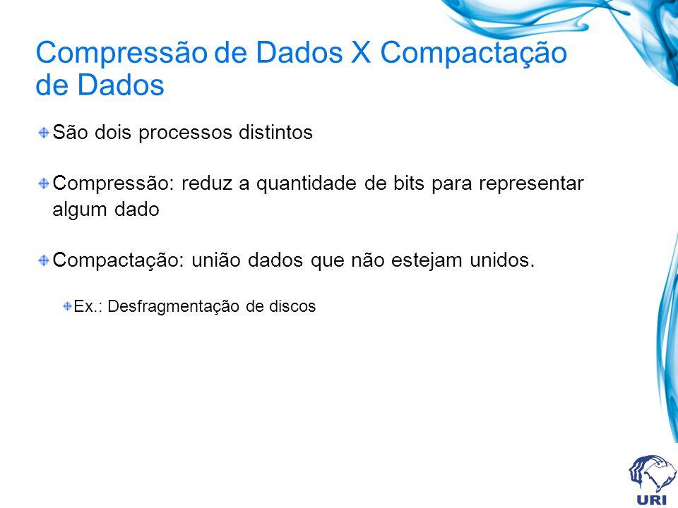 Compressão de Dados X Compactação de Dados São dois processos distintos Compressão: reduz a quantidade de bits para representar algum dado Compactação