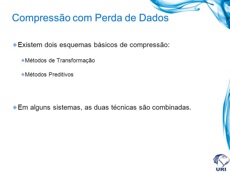 Compressão com Perda de Dados Existem dois esquemas básicos de compressão: Métodos de Transformação Métodos Preditivos Em alguns sistemas, as duas téc