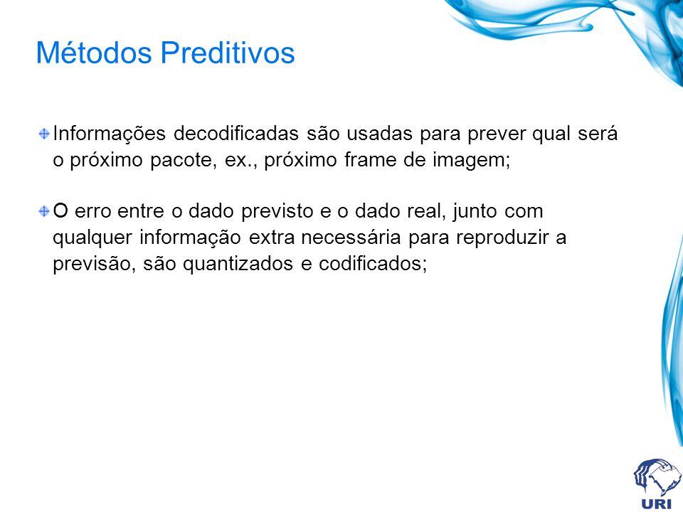 Métodos Preditivos Informações decodificadas são usadas para prever qual será o próximo pacote, ex., próximo frame de imagem; O erro entre o dado prev