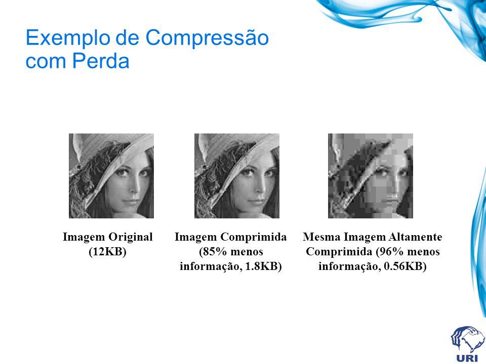 Exemplo de Compressão com Perda Imagem Original (12KB) Imagem Comprimida (85% menos informação, 1.8KB) Mesma Imagem Altamente Comprimida (96% menos in