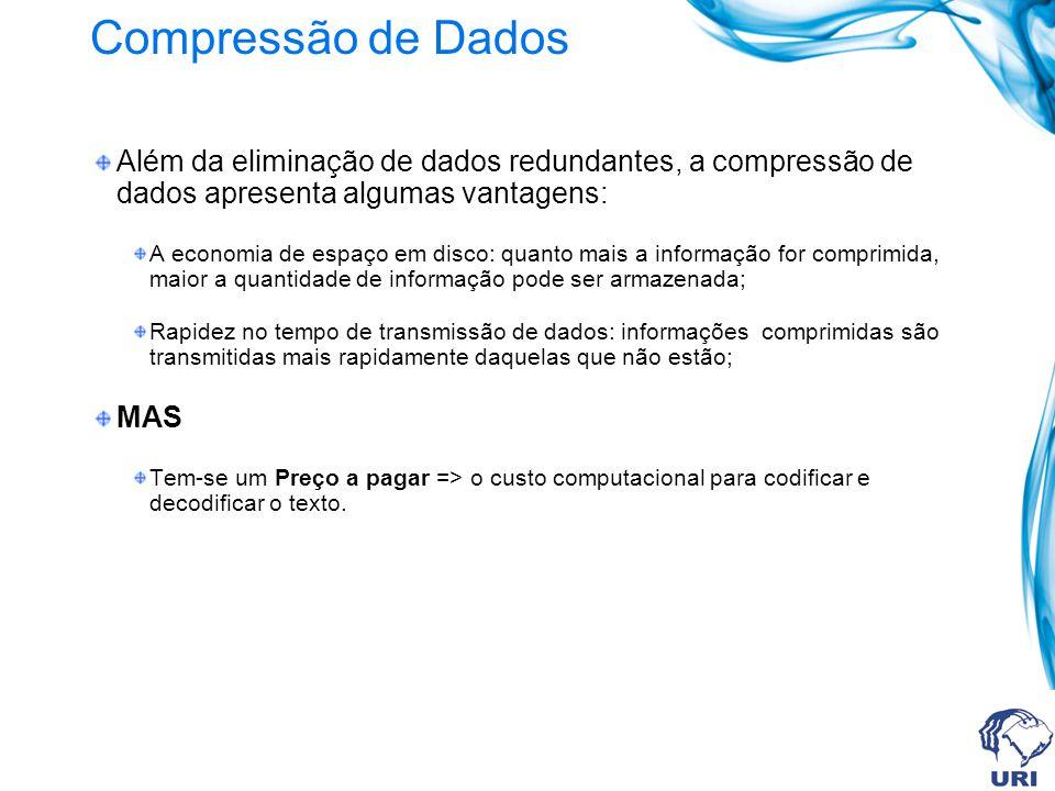 Compressão de Dados Além da eliminação de dados redundantes, a compressão de dados apresenta algumas vantagens: A economia de espaço em disco: quanto