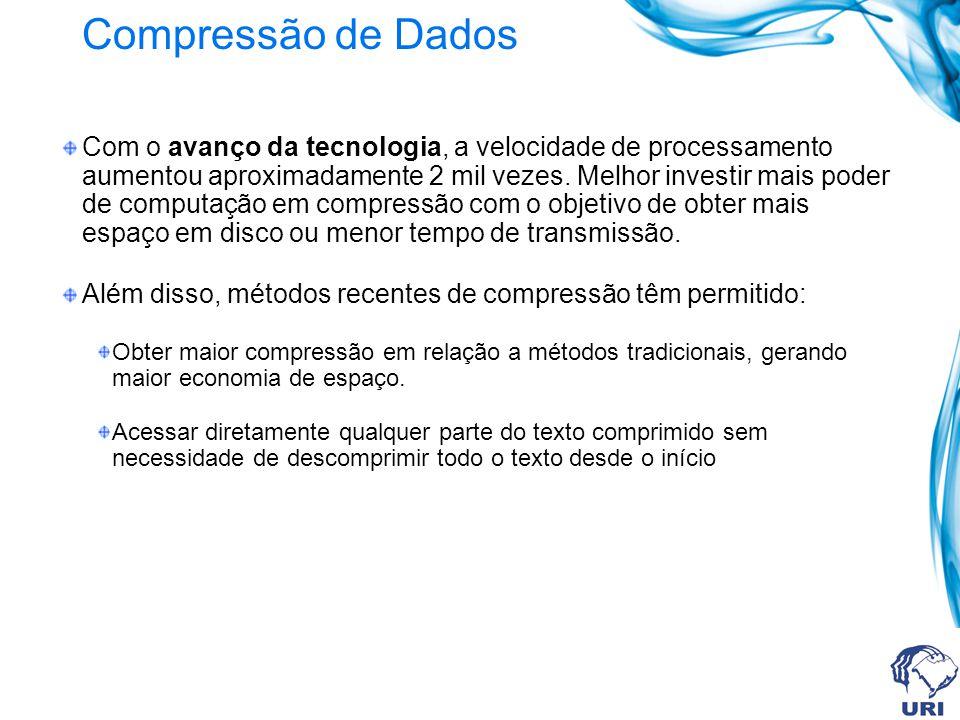 Compressão de Dados Com o avanço da tecnologia, a velocidade de processamento aumentou aproximadamente 2 mil vezes. Melhor investir mais poder de comp