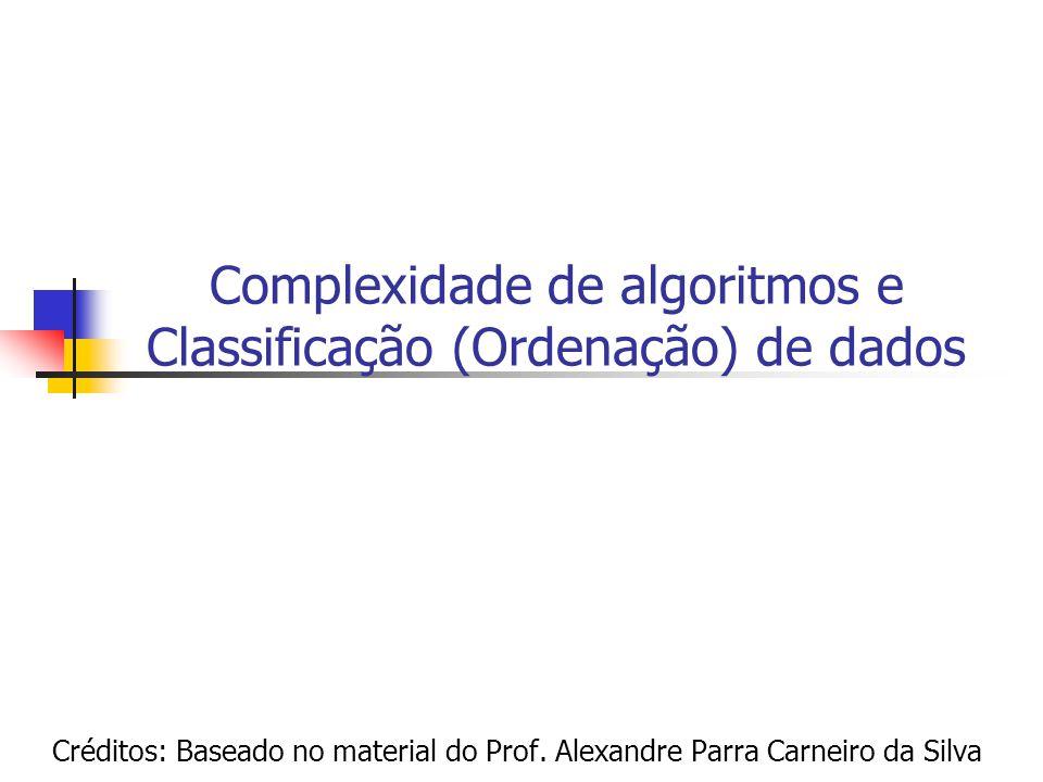 Complexidade de algoritmos e Classificação (Ordenação) de dados Créditos: Baseado no material do Prof. Alexandre Parra Carneiro da Silva