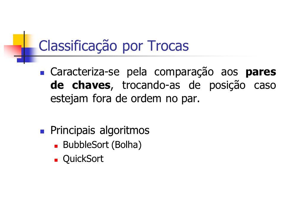 Classificação por Trocas Caracteriza-se pela comparação aos pares de chaves, trocando-as de posição caso estejam fora de ordem no par. Principais algo
