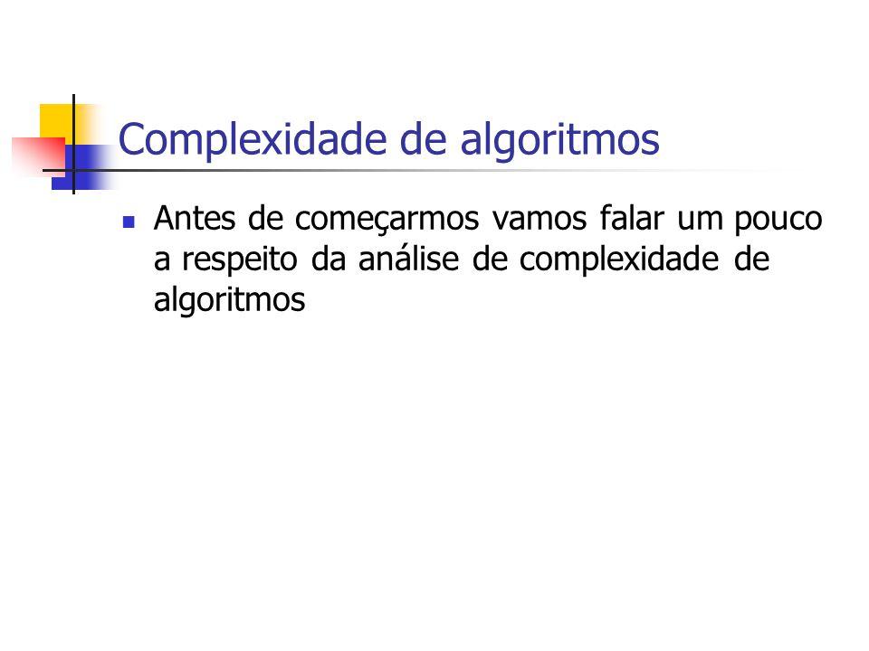 Complexidade de algoritmos Antes de começarmos vamos falar um pouco a respeito da análise de complexidade de algoritmos