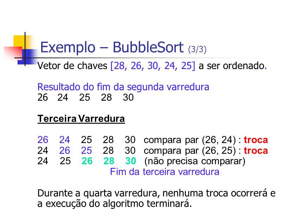 Exemplo – BubbleSort (3/3) Vetor de chaves [28, 26, 30, 24, 25] a ser ordenado. Resultado do fim da segunda varredura 26 24 25 28 30 Terceira Varredur