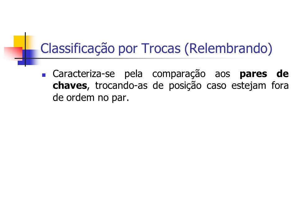 Classificação por Trocas (Relembrando) Caracteriza-se pela comparação aos pares de chaves, trocando-as de posição caso estejam fora de ordem no par.