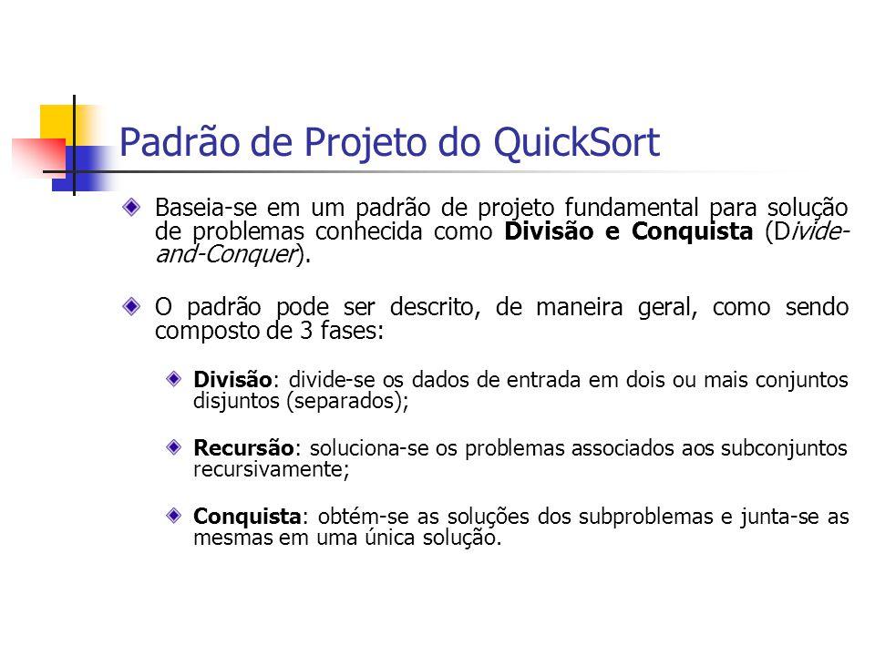 Padrão de Projeto do QuickSort Baseia-se em um padrão de projeto fundamental para solução de problemas conhecida como Divisão e Conquista (Divide- and