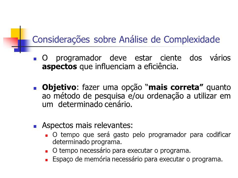 Considerações sobre Análise de Complexidade O programador deve estar ciente dos vários aspectos que influenciam a eficiência. Objetivo: fazer uma opçã