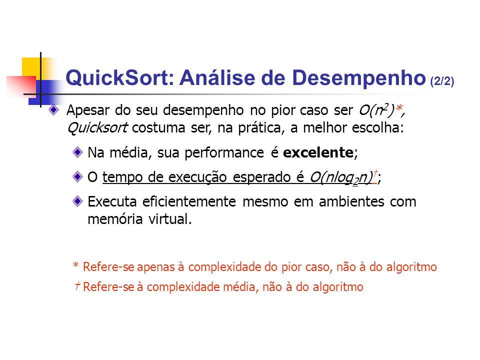 Apesar do seu desempenho no pior caso ser O(n 2 )*, Quicksort costuma ser, na prática, a melhor escolha: Na média, sua performance é excelente; O temp