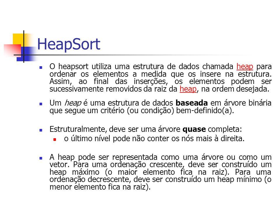 HeapSort O heapsort utiliza uma estrutura de dados chamada heap para ordenar os elementos a medida que os insere na estrutura. Assim, ao final das ins