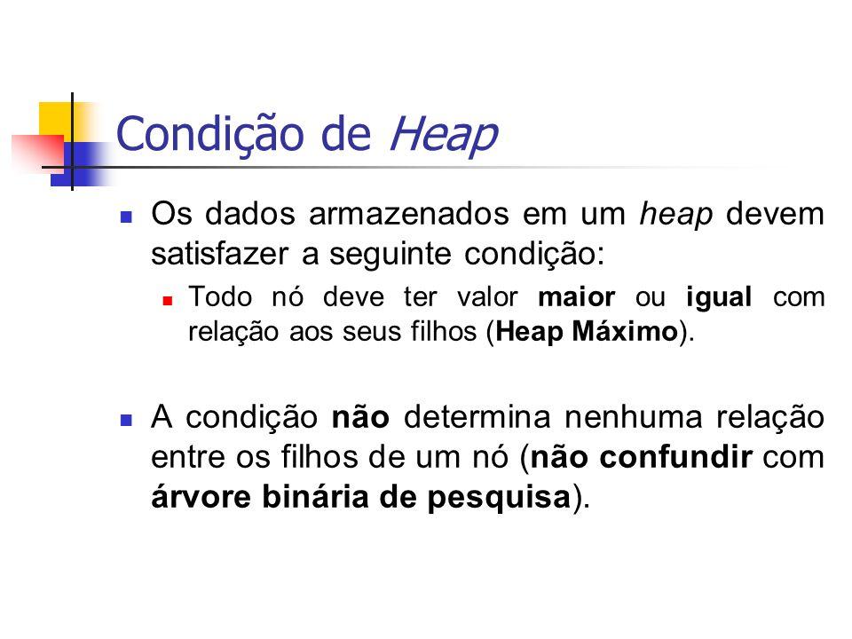 Condição de Heap Os dados armazenados em um heap devem satisfazer a seguinte condição: Todo nó deve ter valor maior ou igual com relação aos seus filh