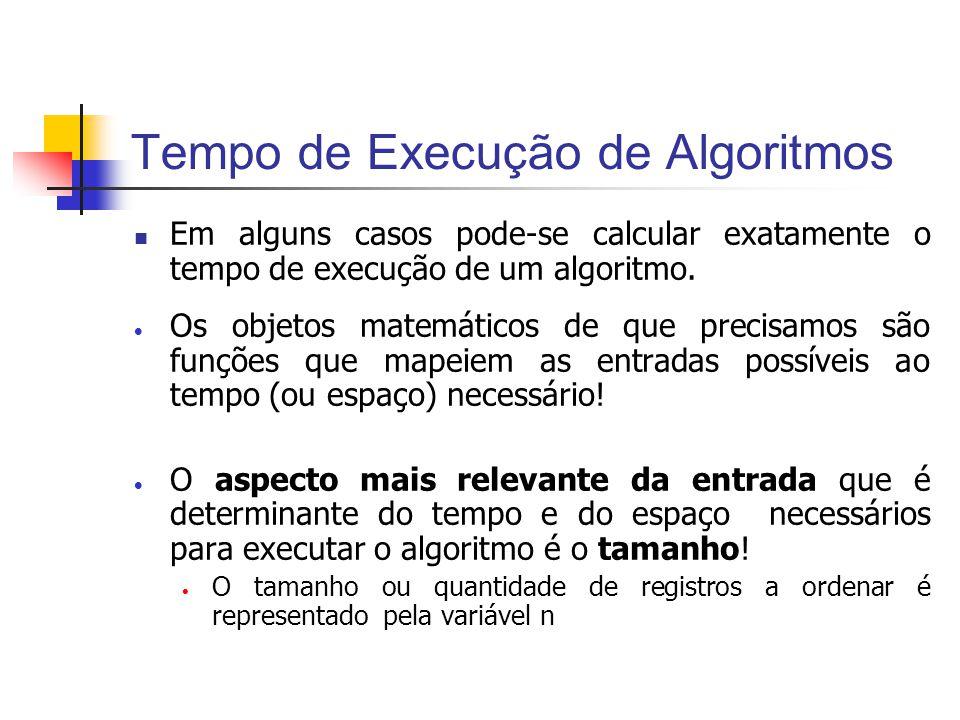 Tempo de Execução de Algoritmos Em alguns casos pode-se calcular exatamente o tempo de execução de um algoritmo. Os objetos matemáticos de que precisa