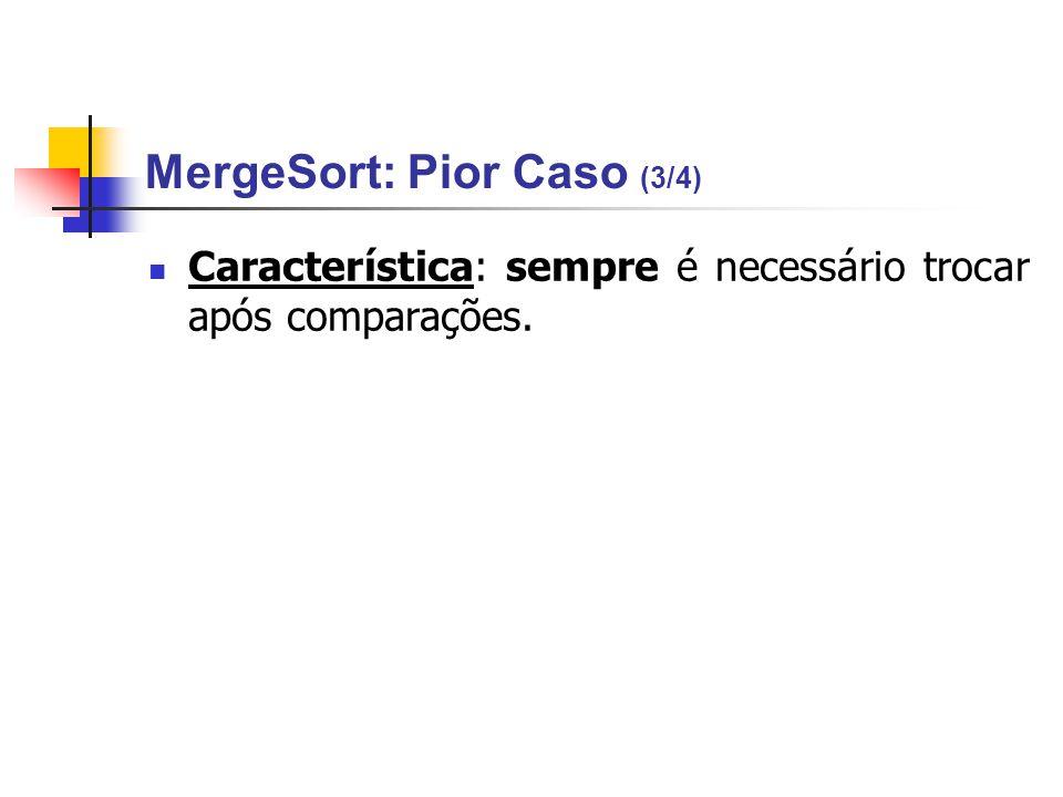 MergeSort: Pior Caso (3/4) Característica: sempre é necessário trocar após comparações.